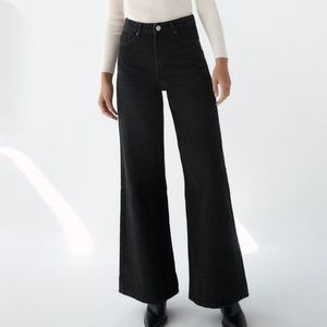 Zara Super Wide Leg High Waisted Black Jeans 2
